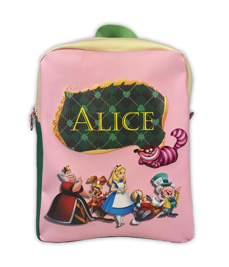zainetto personalizzato Alice nel paese delle meraviglie rosa